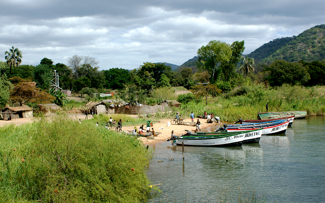 Local fishing boats at Monkey Bay, Malawi